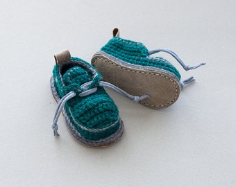 Babies Boot-laced Booties Made for Walking in dark green turquoise - Babies U.S. sizes 3-7 EUR 16-24