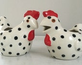Rooster Cream & Sugar Bowls / Spotted Roosters / Denesco Rooster / Farm Decor / Rooster Decor / kisvteam