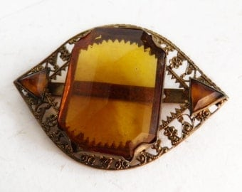 Amber Glass Buckle Fine Brass Filigree c1920s
