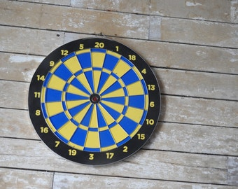 Vintage Retro Cork Dart Board Blue Yellow