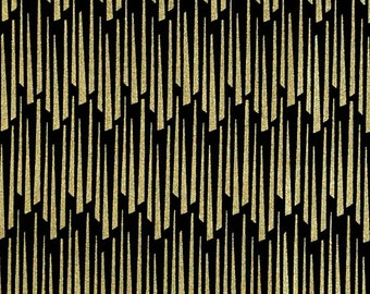 Tassles in Metallic Gold Fabric Quilting Weight textile, Designed Cotton - by the yard
