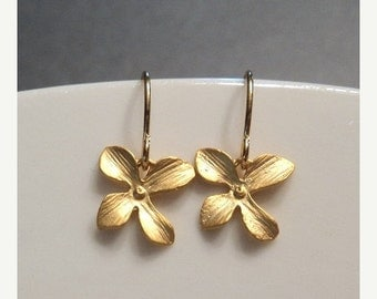 SALE Gold orchid flower earrings.  Little sweet dangles on french wires.  Everyday. Bridal.  Flower Girl.  Gift for her.