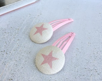 Peony & Sage Pink Star Button Hair Clips