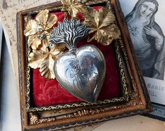 1800s Petite Antique French Silver Religious Flaming Heart Reliquary, Marian Talisman for the Passionate, offered by RusticGypsyCreations