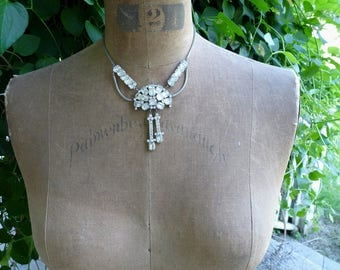 Unique Vintage Rhinestone Necklace, Marie Antoinette Adornment, offered by RusticGypsyCreations