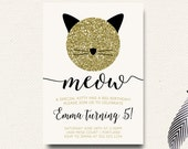 Kitty Birthday Invitation | Cat Invite | Glitter Glam Kitty