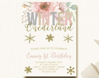 Floral Winter Onederland Invitation Snowflake invite Birthday Invitation Gold Blush Pink One First