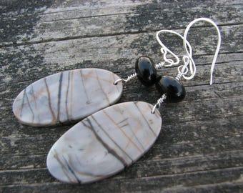 Picasso Jasper Earrings Black Onyx Sterling Silver Gray Grey Black Tan Striped Stones Big Bold Natural Stone Earrings