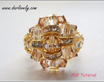 Beaded Ring Pattern - Golden Dome Ring (RG076) - Beading Jewelry PDF Tutorial (Digital Download)