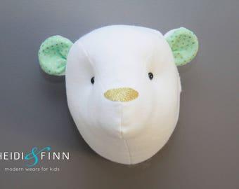 Teddy Bear Faux Taxidermy wall decor bear head room nursery white  bear art