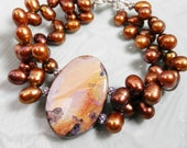 Bold Australian Boulder Opal and Copper Freshwater Pearl Bracelet with Sterling Silver Clasp