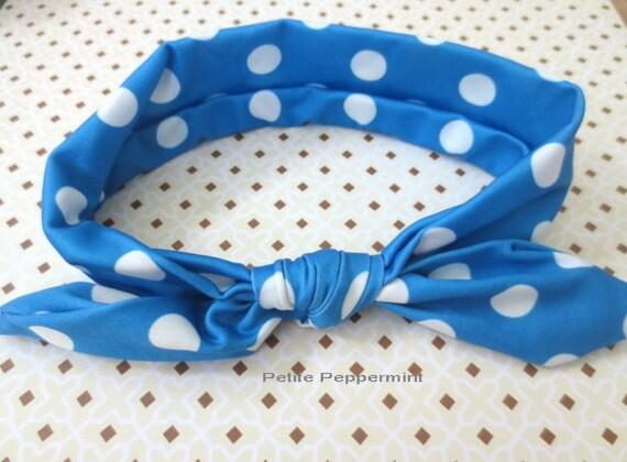 Blue baby headband, baby head wrap, baby turban, baby headband bow, baby hair bow, infant headband,knotted bow headband,bow knot headband