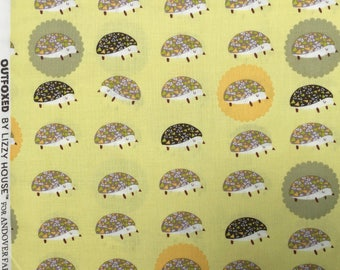 Lizzy House Outfoxed Hedgehogs yellow FQ or more Oop Htf