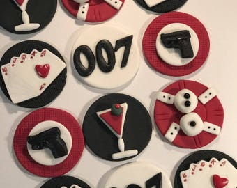 Fondant James Bond inspired Cupcake, Cake, Cookie Toppers Set of 12