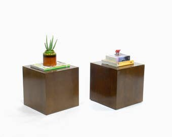 Edward Wormley for Dunbar Walnut Cube Table (Set of 2)
