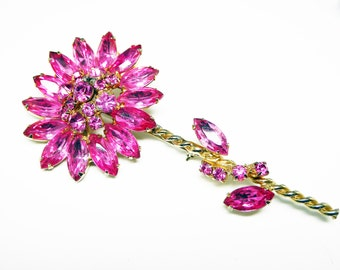 Large Pink Rhinestone Flower Brooch - Marquis Prong Set Rhinestones - Twisted Goldtone Stem - Vintage 1960's 1970's High Fashion Costume