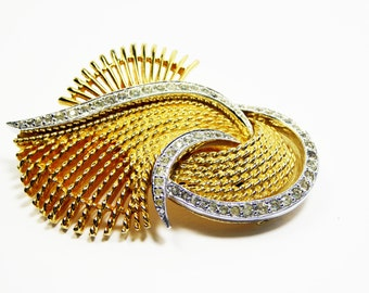 Signed Ciro Vintage Rhinestone Brooch - Gold Tone with Silver Accent and Clear Rhinestones - Vintage 1940's 1950's Mid Century Modern