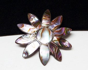 Daisy Flower Brooch - Abalone Shell - Flower Blossom - Sterling Silver Round Iridescent Pin - Vintage Signed 925 GTM Sterling Mexico 1970's