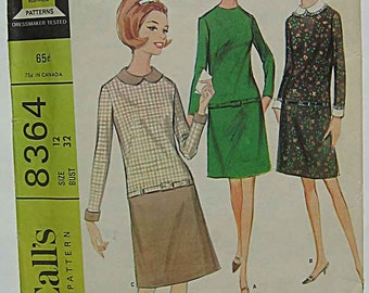 Vintage 60's Misses' Easy Dress in 3 Versions McCall's 8364 Sewing Pattern Size 12