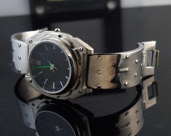 Mens wrist watch vintage, minimalistic design Goth Cyber punk Hi Tek Watch gift for him