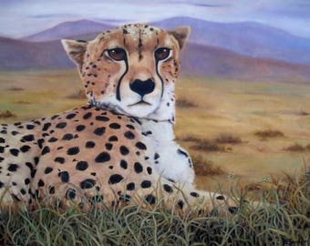 "CHEETAH PRINT 8"" X 10"" Cheetah Portrait Big Cat Art Endangered Species African Wildlife Cheetah Painting Kid's Decor Karen Snider"