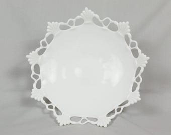 Westmoreland milk glass fruit compote bowl with fan and circles design on edge, Perfect condition, Signed on bottom