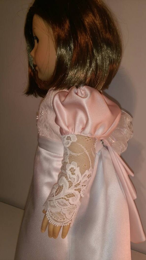 Victorian skirt and blouse in white and peach, collectable, fits 18 inch dolls like American girl