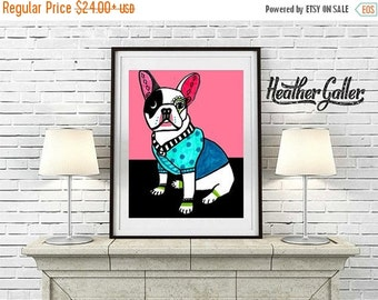 50% Off Today- French Bulldog Art Print Poster of Painting  Dog Art Heather Galler (HG448)