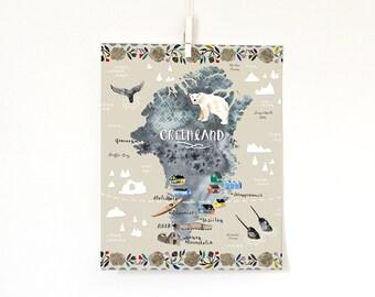Greenland Map, 8x10 print