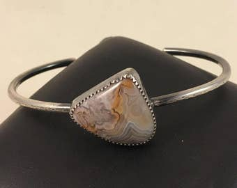 Crazy Lace Agate Cuff-agate cabochon, free form cabochon, crazy lace agate cuff, cuff bracelet, earthy jewelry, innerearthjewelry, sterling