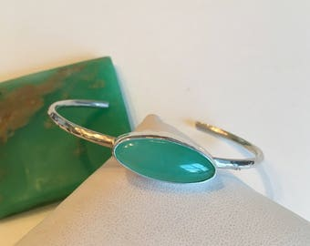 Chrysophrase Cuff- Chrysophrase cabochon, chrysoprase, free form cabochon, sterling silver, silver cuff, artisan bracelet, gemstone jewelry