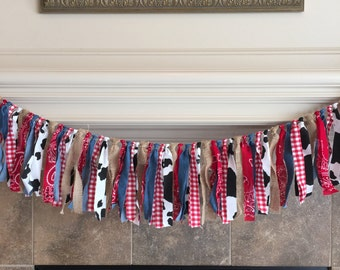 Western Fabric Banner - Cowboy Party Banner - Barnyard Party -