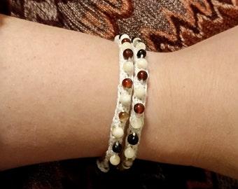 Black Honey & Cream Beaded Wrap Bracelet