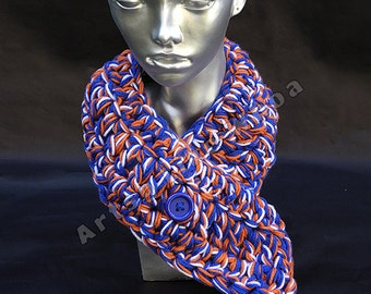 Blue Orange and White Crocheted Neckwarmer, Team Spirit, College Colors, Pro Sport, Spirit Wear, Adjustable Acrylic Scarf, READY TO SHIP