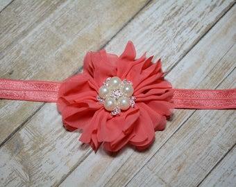 CLEARANCE/ Coral Chiffon Flower Headband/ Coral Baby Headband/ Girls Hair Accessories/ Baby Hair Accessories/ Sale Headband/ Dark Coral