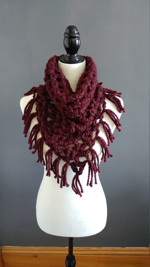 Chunky cowl with fringe, bandana cowl, kerchief cowl, in your choice of colour