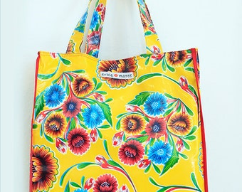 Market Tote  Oilcloth in Yellow Beach Tote Pool Bag Playa Mediana