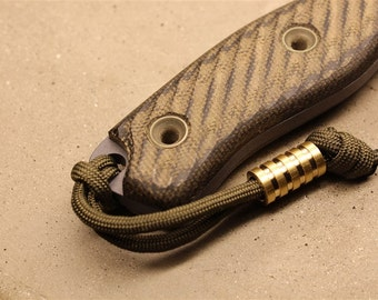 """Bumble Bee """"Extra"""" Medium Brass Lanyard Bead With Four Grooves and a Free Paracord Lanyard"""