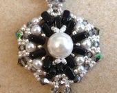 CLOSEOUT half price kits KIT and Pattern Simplicity Pendant using 2 hole CzechMate brick beads Black and White Dress up