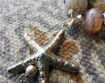 OOAK Alta Marea Shell Collections Silver star fish pendent with crystal.OOAK