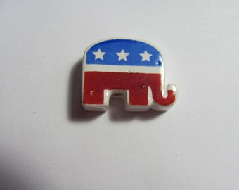 10 Hand Painted Republican Elephant Beads- Free Shipping in US