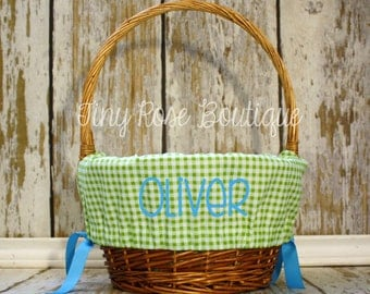 Easter Basket Liner- Green Gingham - Comes Personalized