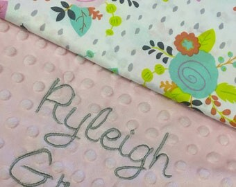 Woodland Baby Blanket, Pink Floral Cotton Baby Blanket, Personalized Baby blanket,Floral Woodland Nursery, Baby Shower Gift