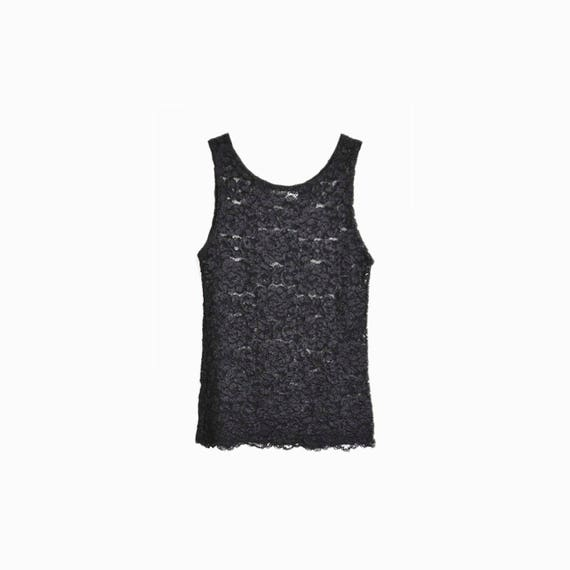 Vintage 90s Black Lace Tank Top / Lace Cami / Spandex Top / 90s Fashion - women's xs/small