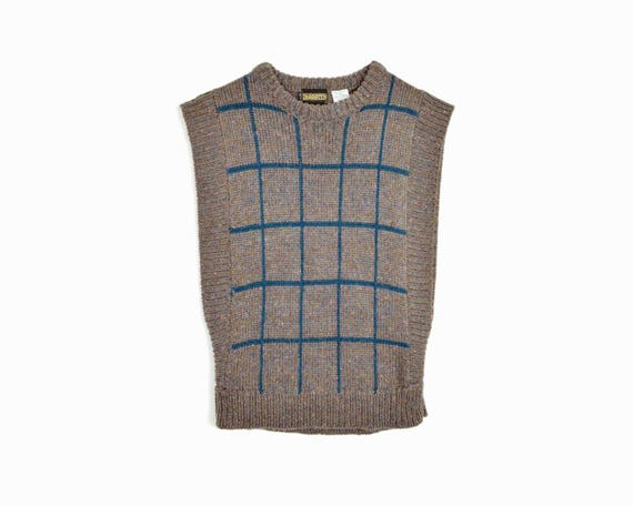 Vintage Windowpane Check Sweater Vest - women's medium