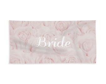 "Blush Pink ""Bride"" Towel for Bath or Beach, bridal towel, gift for bride, bridal shower gift, honeymoon, destination wedding- 1610PKBRIDE"