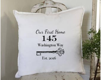 HouseWarming Gift | New Home Gift | Our First Home | Personalized Pillow | New House Gift | New Homeowner | Realtor Closing Gift