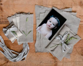 4x6 photo and usb packaging set of 10 natural linen pouches