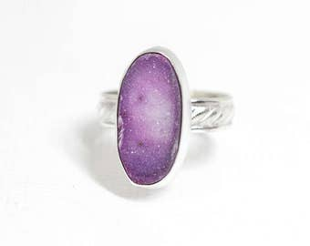 Purple Pink Druzy Ring in Sterling Silver, Size 8 Handcrafted