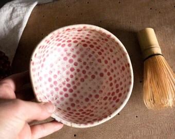 Matcha tea bowl, Green tea bowl, Handmade matcha bowl Gift for yoga lover Black red tea bowl Polka dot bowl Gift for her unique scandinavian